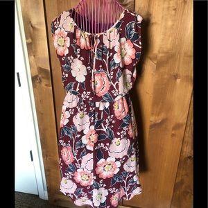 LOFT floral lined spring dress M
